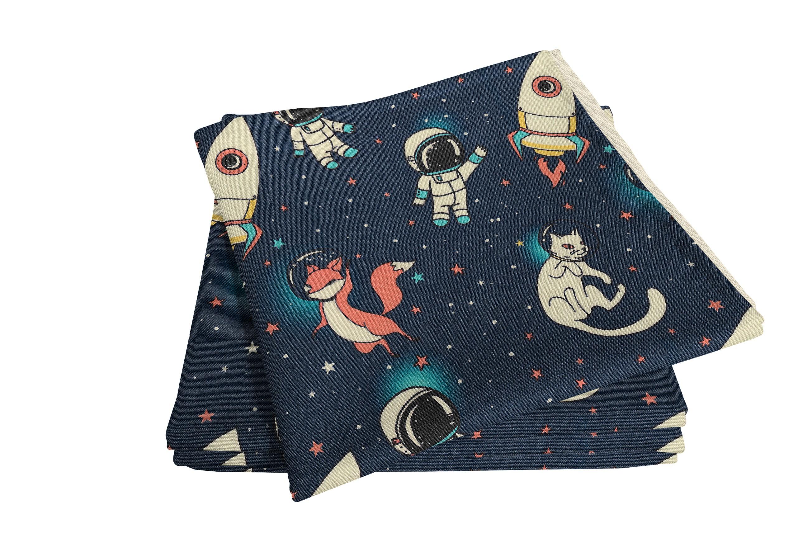 Stoffserviette für Kinder 'Space'  (4er Pack)